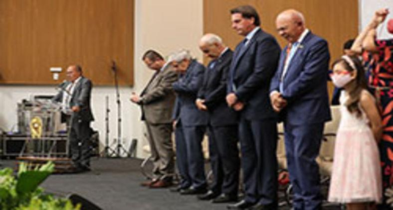 Convenção Estadual das Assembleias de Deus da Bahia faz assembleia com presença do presidente e outros membros do governo. Ausência de distanciamento mínimo e uso de máscara foi marcante no evento (Marcos Corrêa/PR)
