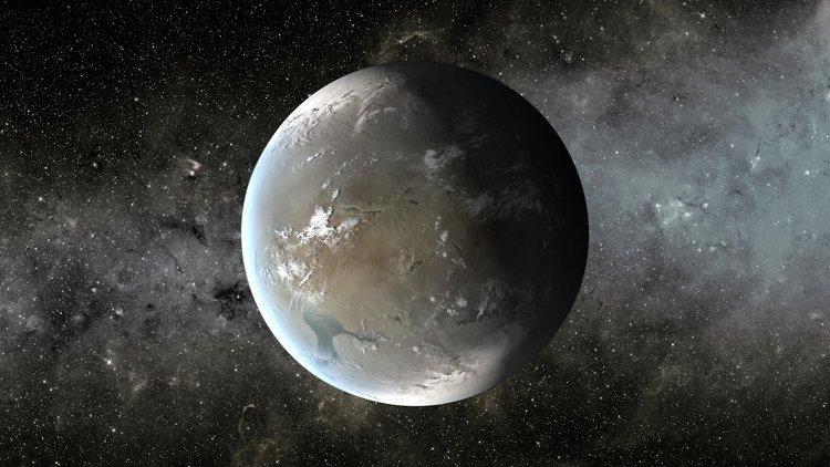 Impressão artística de uma Super-Terra, uma classe de planeta que tem muitas vezes a massa da Terra, mas menos do que um planeta do tamanho de Urano ou Netuno