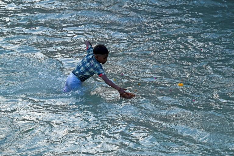 Jovem pesca as oferendas lançadas por peregrinos no rio sagrado Ganges, em Haridwar, norte da Índia, em 11 de março de 2021