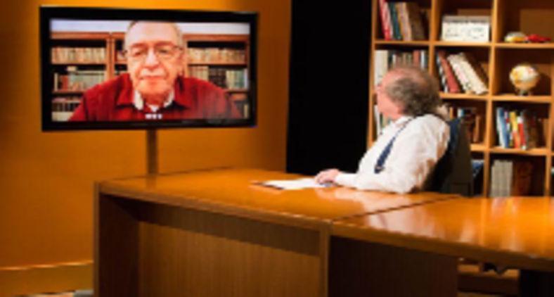 Olavo de Carvalho conversa com Moisés Rabinovici no programa 'Um olhar sobre o Mundo' (TV Brasil)
