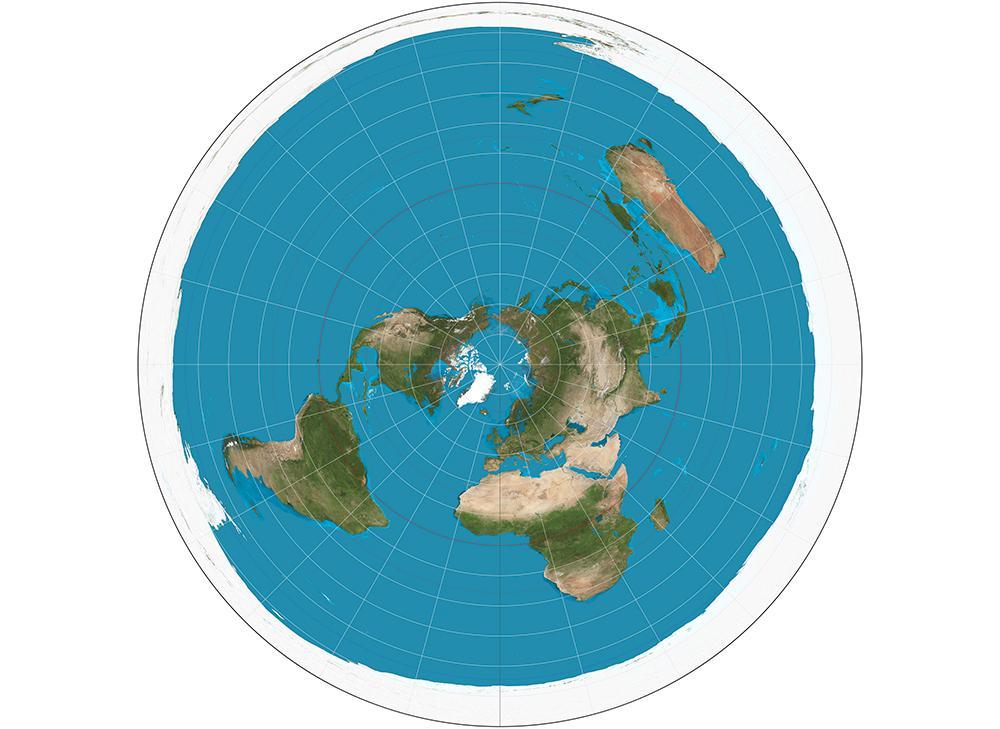 As projeções azimutais equidistantes da esfera como esta também foram cooptadas como imagens do modelo plano da Terra que descreve a Antártica como uma parede de gelo em torno de uma Terra em forma de disco.