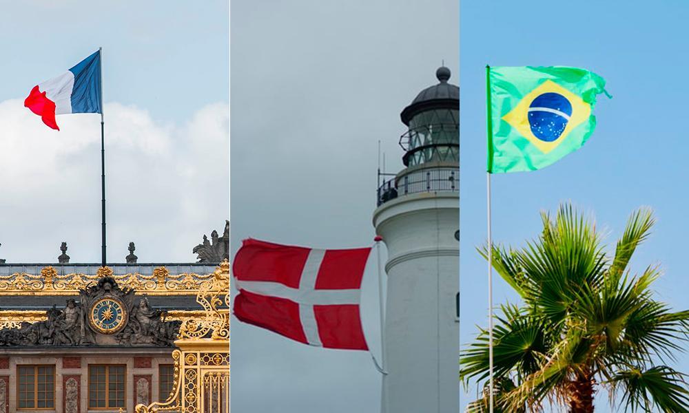 Bandeiras da França, da Dinamarca e do Brasil