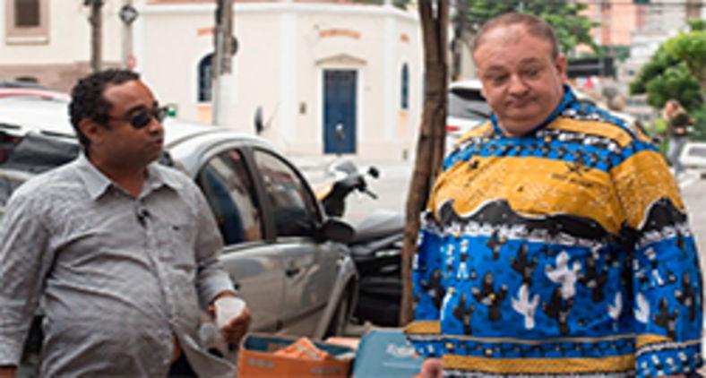 Cachorrão, dono do Mamma Mia, Erick Jacquin durante as gravações (Carlos Reinis/Band)
