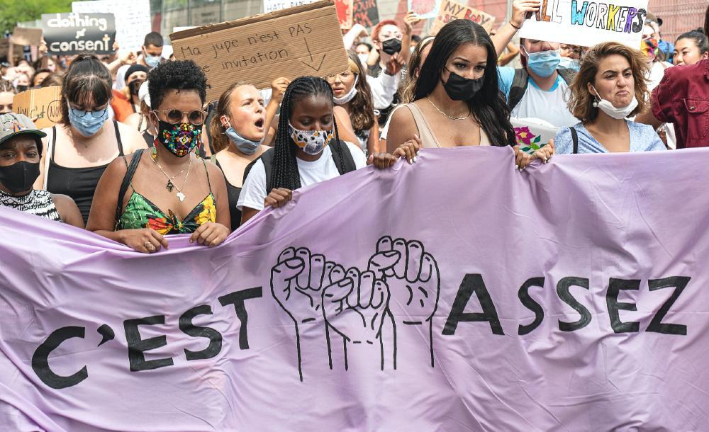 Manifestação contra violência sexual em Montreal, 19 de julho de 2020