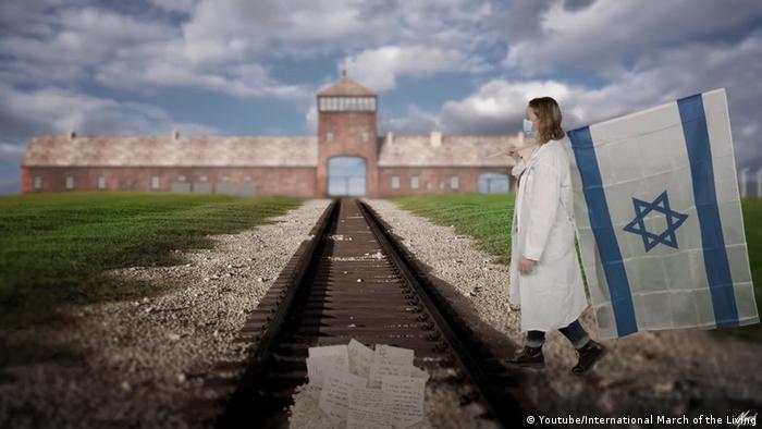 A marcha virtual foi criada filmando individualmente cada participante apresentado em uma tela verde em diferentes locais ao redor do mundo e, em seguida, combinando essas gravações com um pano de fundo digitalizado de Auschwitz e Birkenau