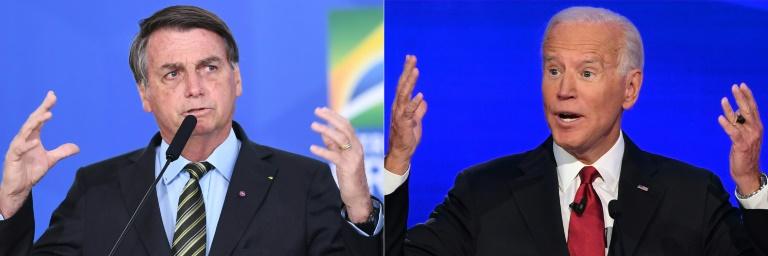 Combinação de fotos dos presidentes Jair Bolsonaro (E), do Brasil, e Joe Biden, dos Estados Unidos