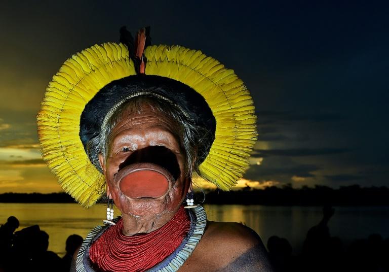 Cacique Raoni Matuktire, em 15 de janeiro de 2020, em Piaracu, perto de São José do Xingu