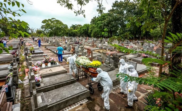 Funcionários carregam um caixão durante o enterro de uma vítima de covid-19 no cemitério municipal de São João, em Porto Alegre, em 26 de março de 2021