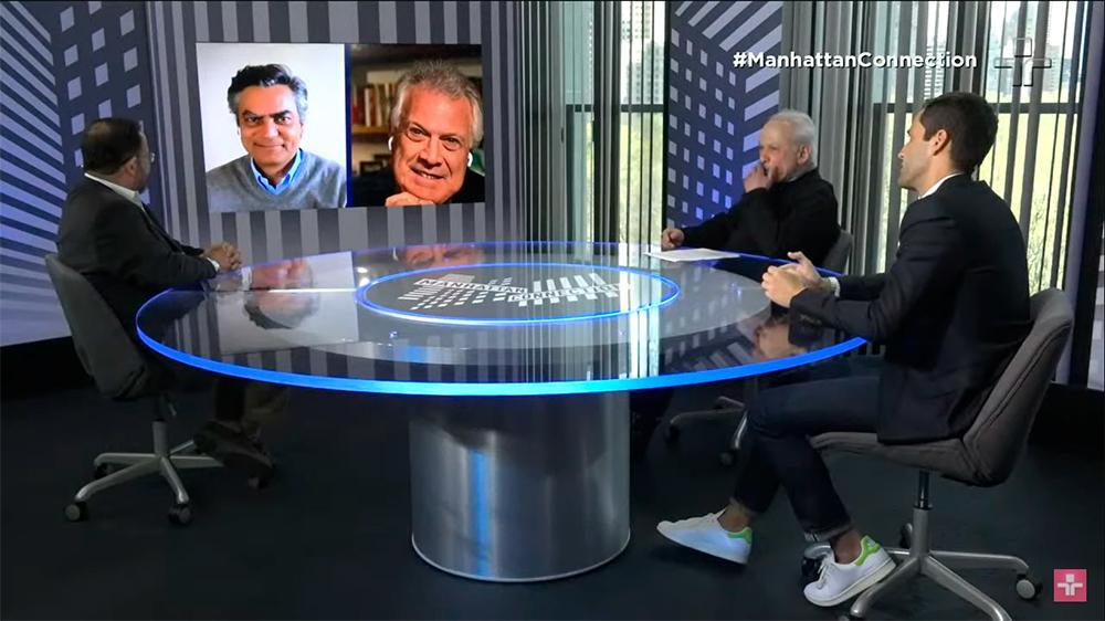 Pedro Bial sendo entrevistado pelo Manhattan Connection