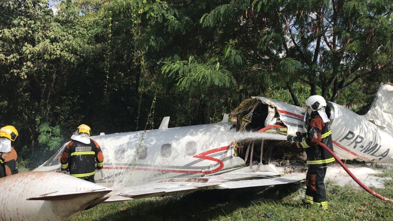 Três pessoas estavam no jato no momento do acidente