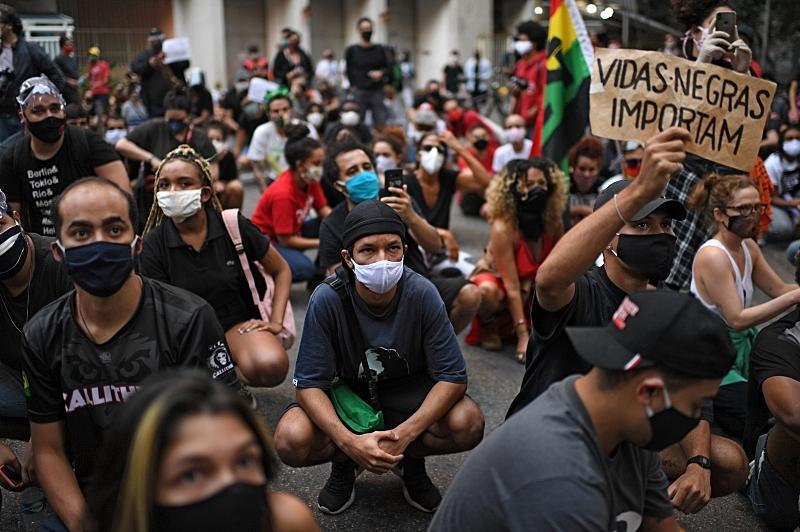 Protesto em São Paulo, em julho, contra o racismo no Brasil