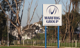Entrada da fábrica da Marfrig em Alegrete, no Rio Grande do Sul (Reprodução/Twitter)
