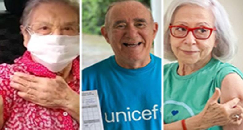 Palmirinha, Renato Aragão e Fernanda Montenegro já receberam a primeira dose da vacina (Reprodução Instagram)