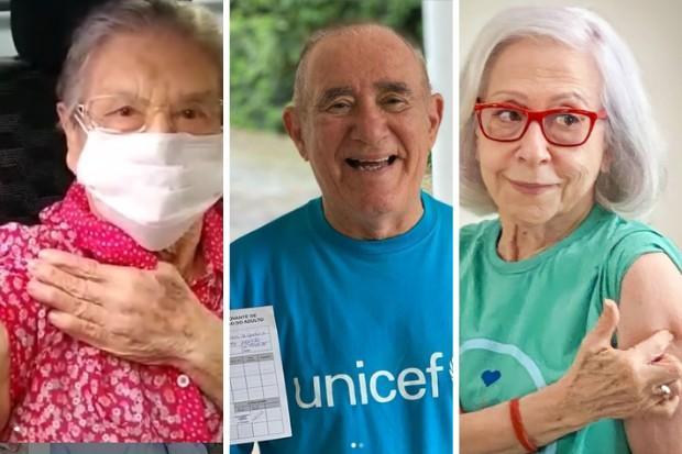 Palmirinha, Renato Aragão e Fernanda Montenegro já receberam a primeira dose da vacina