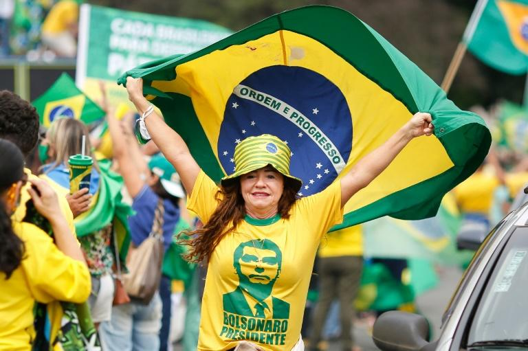 Manifestante estende bandeira do Brasil durante manifestação de apoio ao presidente Jair Bolsonaro em Brasília, 1º de maio de 2021