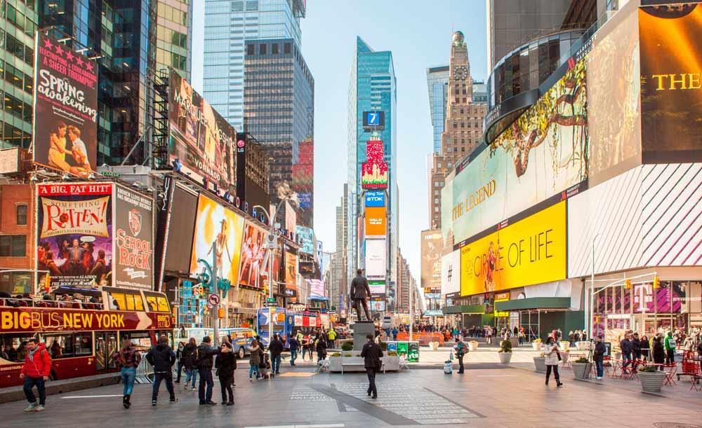 A Times Square deve ser um dos pontos onde serão instalados pontos móveis de vacinação