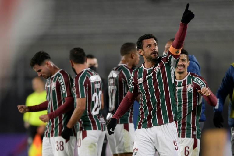 Jogadores do Fluminense celebram gol sobre o River Plate, pela Copa Libertadores