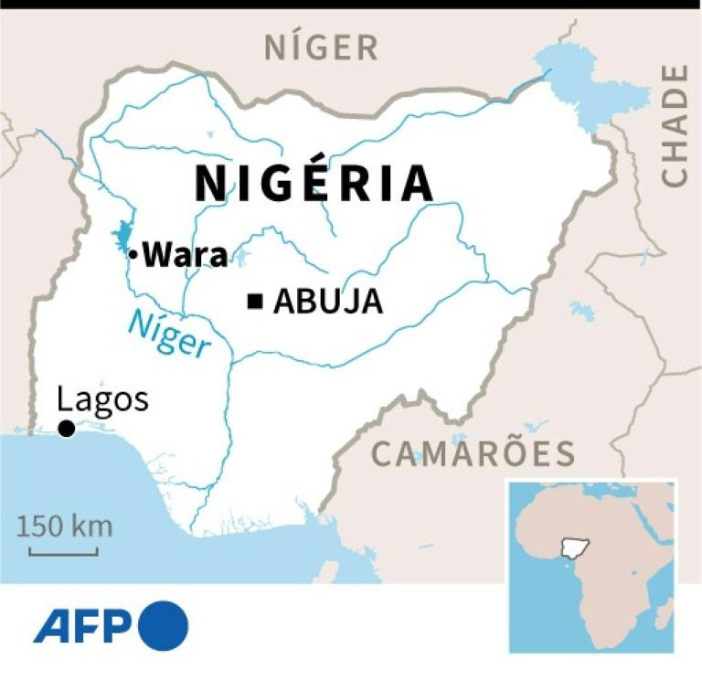 Mapa da Nigéria com o Rio Níger, que corta o país