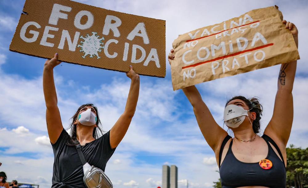 Protesto em Brasília contra o governo Jair Bolsonaro