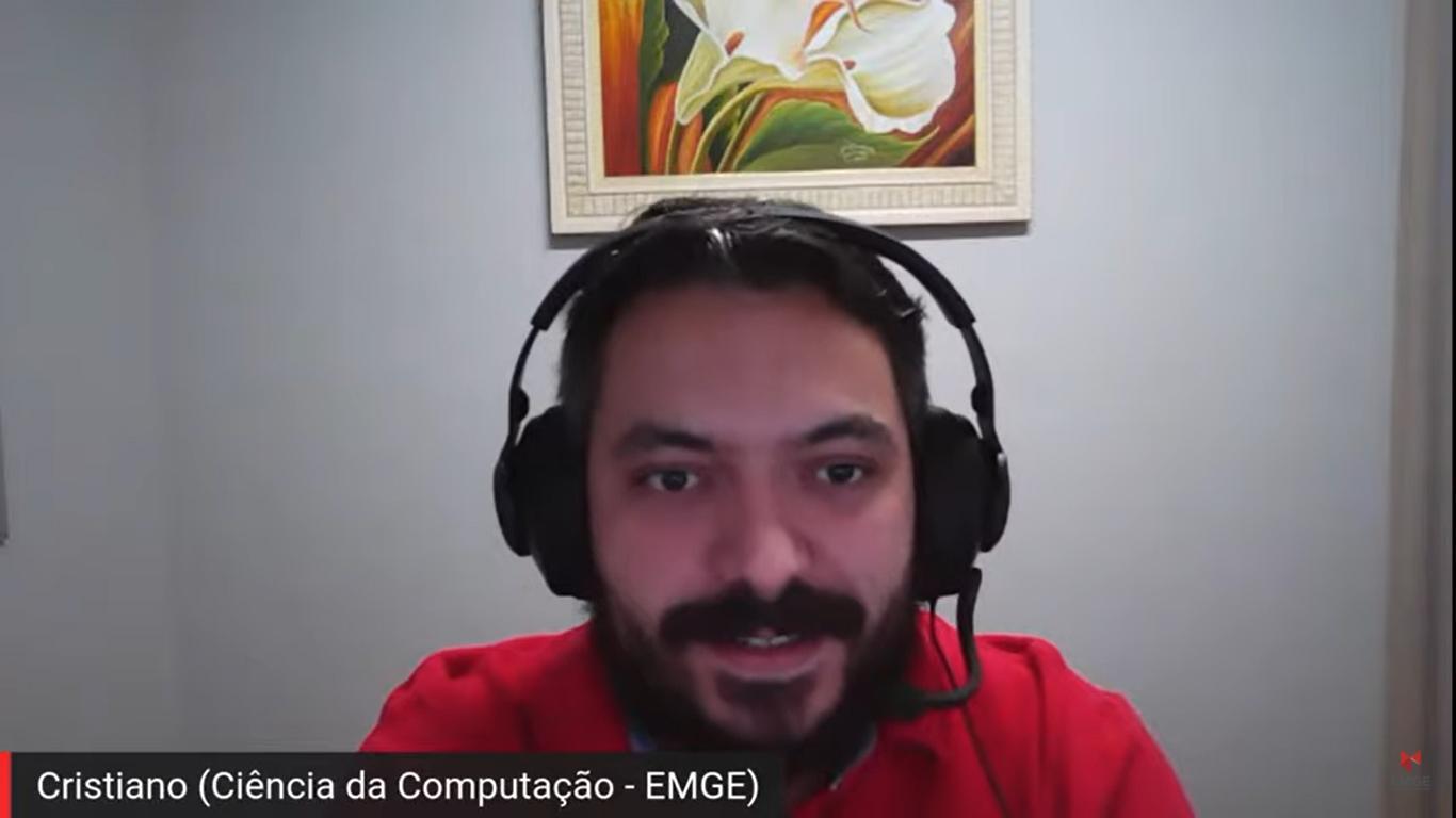 Cristiano Lacerda, coordenador do curso de Ciência da Computação da EMGE, participou da abertura do Simbora.