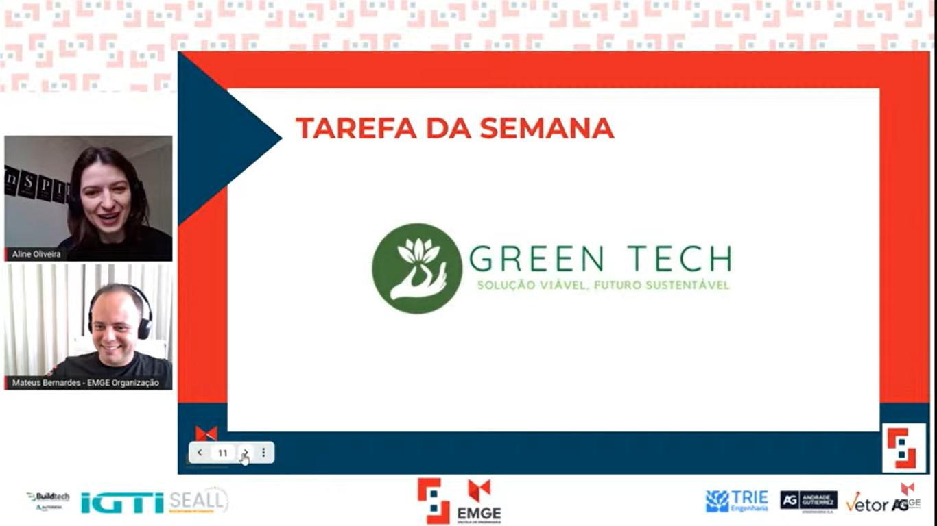 Os professores Aline Oliveira e Mateus Bernardes anunciaram o time ganhador da Tarefa da Semana.