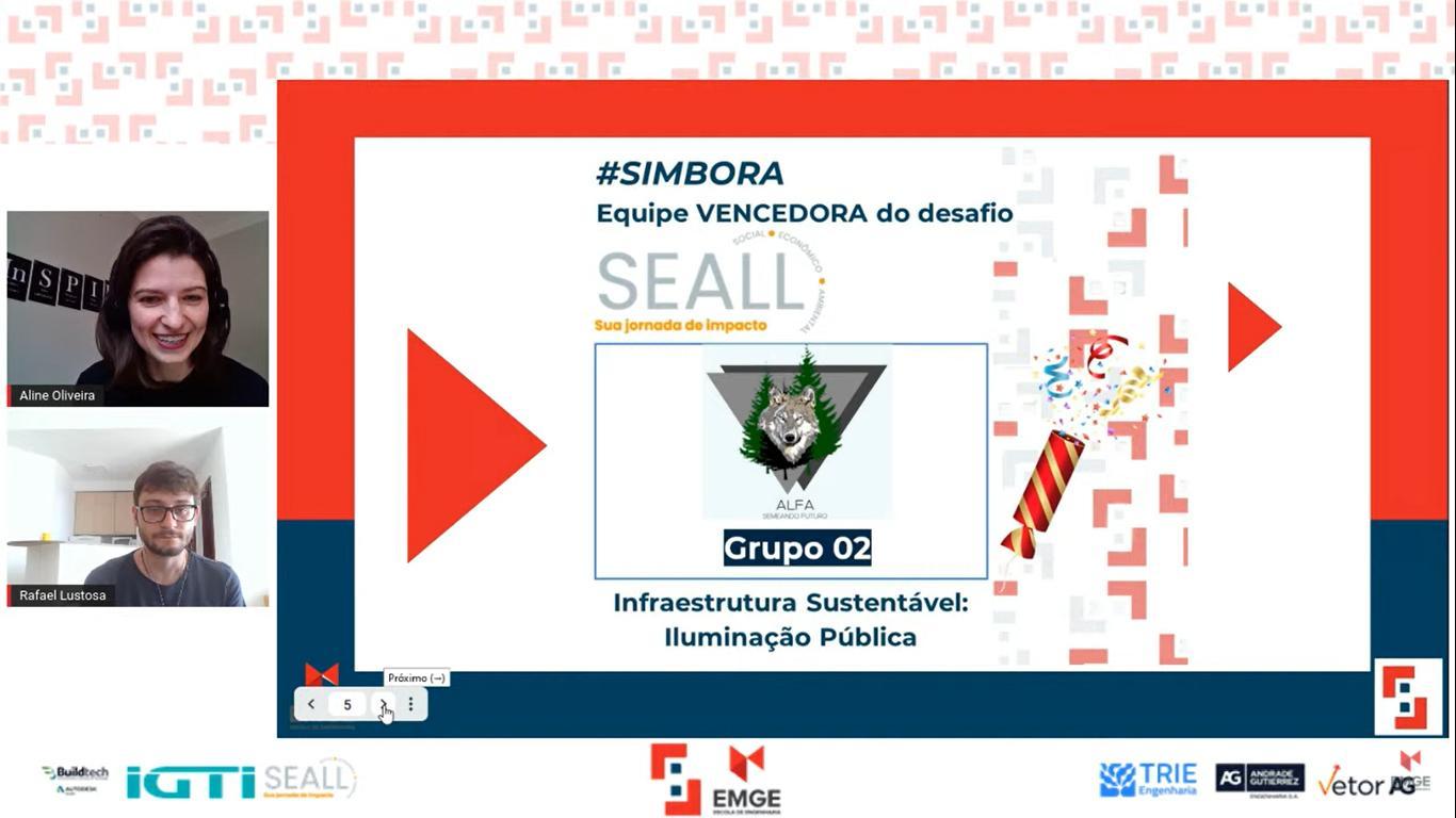Professores Aline Oliveira apresentaram os ganhadores por empresa.