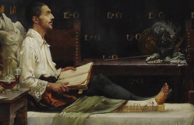 'Ignatius convalesce em Loyola', de Albert Chevallier-Tayler na Igreja do Sagrado Coração de Santo Inácio em Wimbledon, Inglaterra