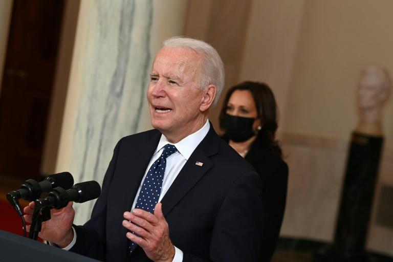 A vice-presidente Kamala Harris e Joe Biden falar na Casa Branca após o veredicto de culpado de Derek Chauvin