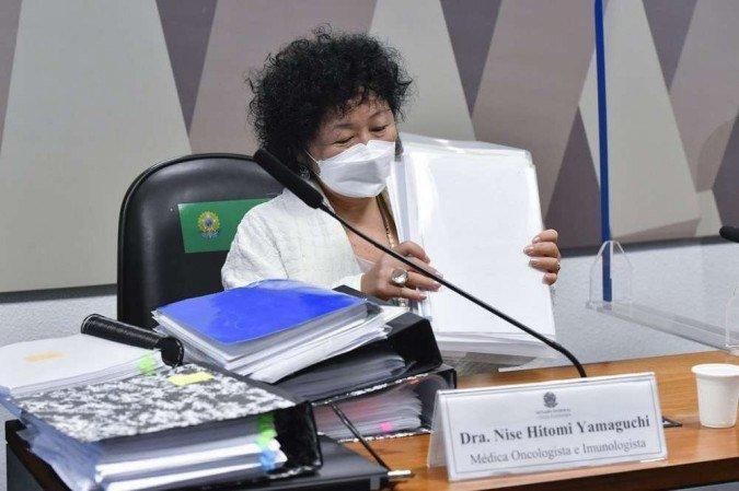A oncologista Nise Yamaguchi durante seu depoimento na CPI da Covid