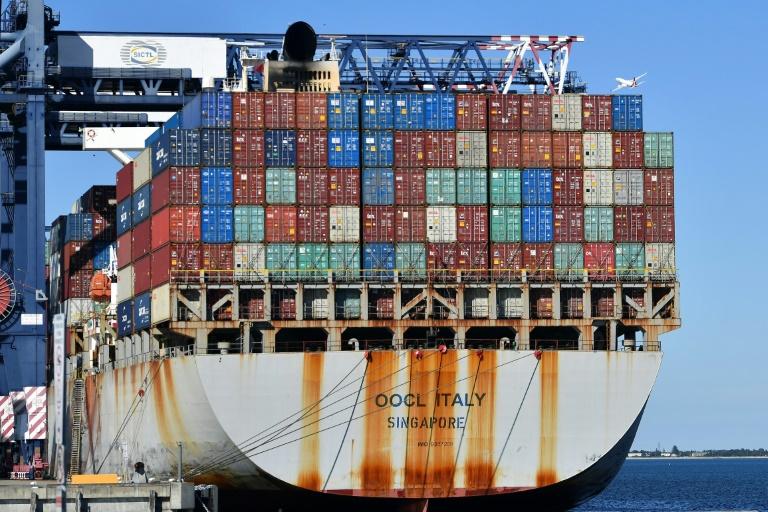 Cargueiro no porto de Sydney, em 4 de junho de 2021