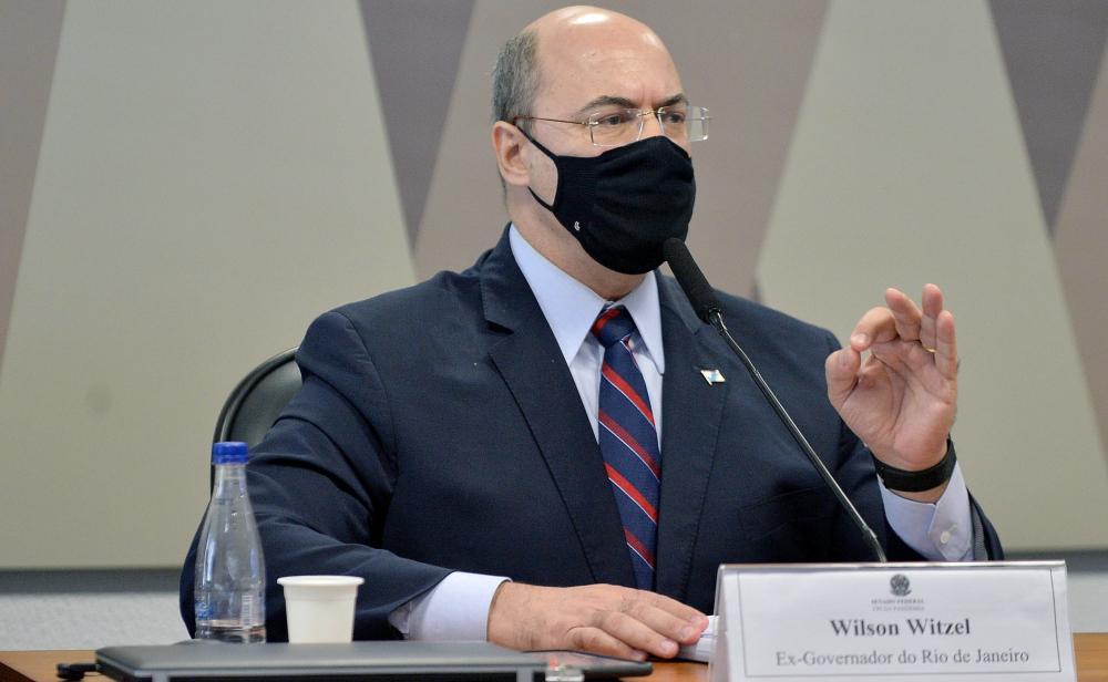 O governador cassado do Rio Wilson Witzel durante a CPI da Covid