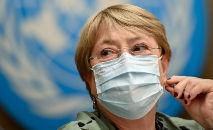 Alta comissária da ONU para os direitos humanos, Michelle Bachelet, em 21 de junho de 2021, em Genebra (Fabrice Coffrini/AFP)