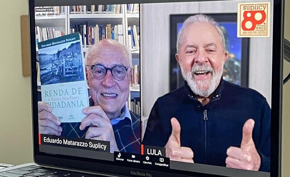 Eduardo Suplicy e Lula durante live