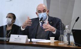 O ex-ministro da Cidadania, deputado Osmar Terra (MDB-RS) durante depoimento da CPI da Covid (Edilson Rodrigues/Agência Senado)
