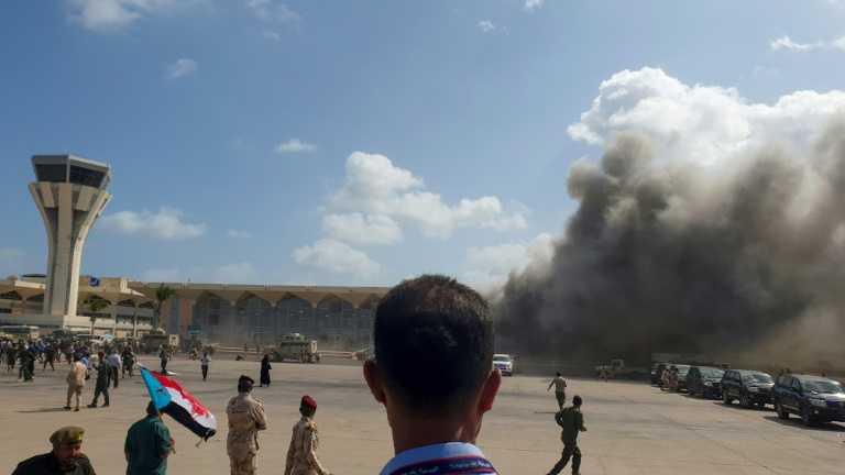 O aeroporto de Aden, no Iêmen, após o ataque de 30 de dezembro de 2020