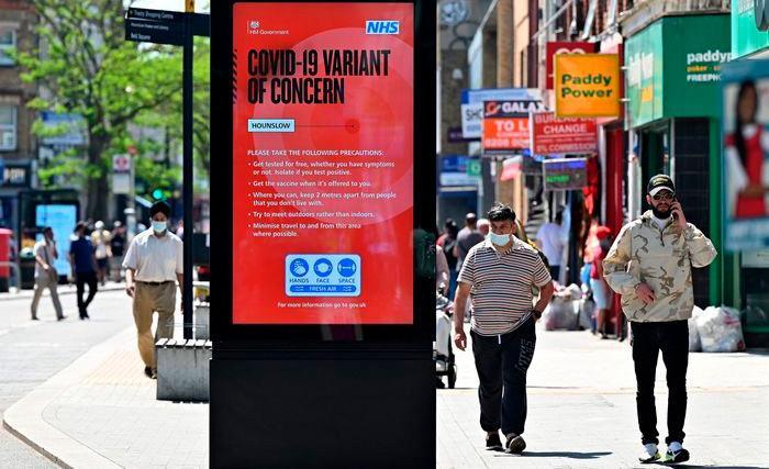 Cartaz no Reino Unido alerta para a variante Delta, mais contagiosa