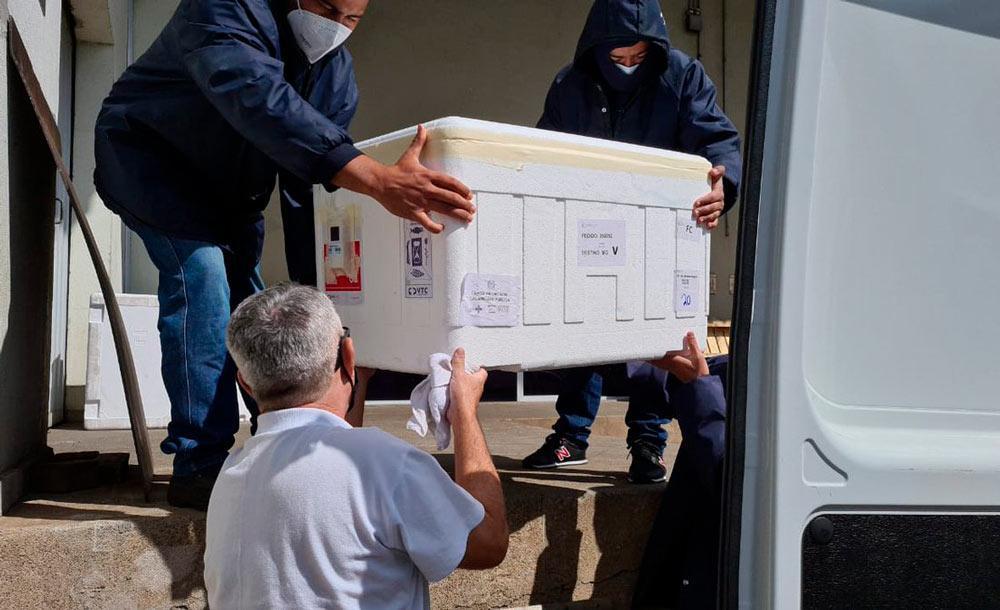 Agentes de saúde transportam carga de vacinas para o interior do estado