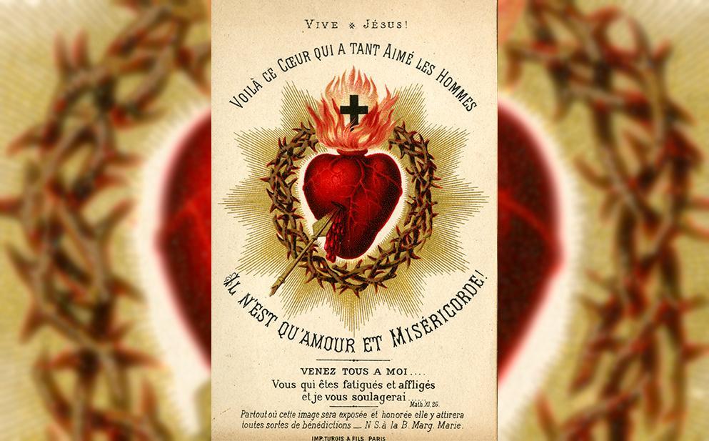 Cartaz representando o Sagrado Coração de Jesus, por volta de 1880