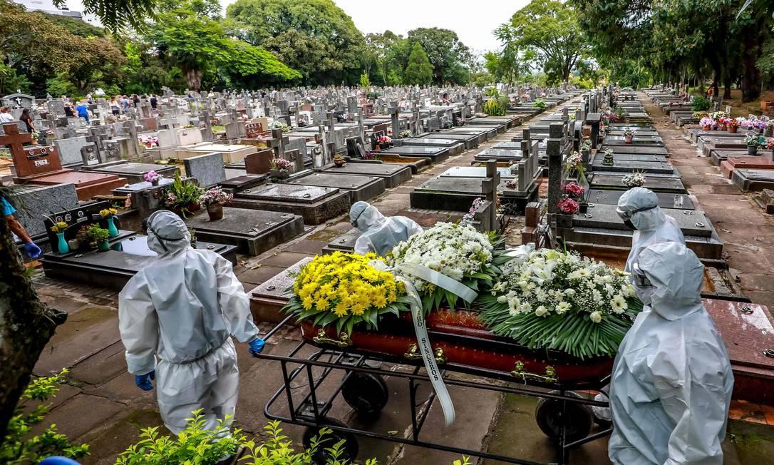 Enterro de vítima de Covid-19 no Cemitério municipal São João, em Porto Alegre (RS)