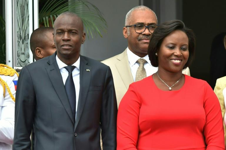 O ex-presidente do Haiti, Jovenel Moise, com sua esposa e primeira-dama, Martine Moise, em 23 de maio de 2018, em Porto Príncipe