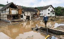 Casas desabaram e foram arrastadas pelas águas na aldeia de Schuld (Bernd Lauter/AFP)