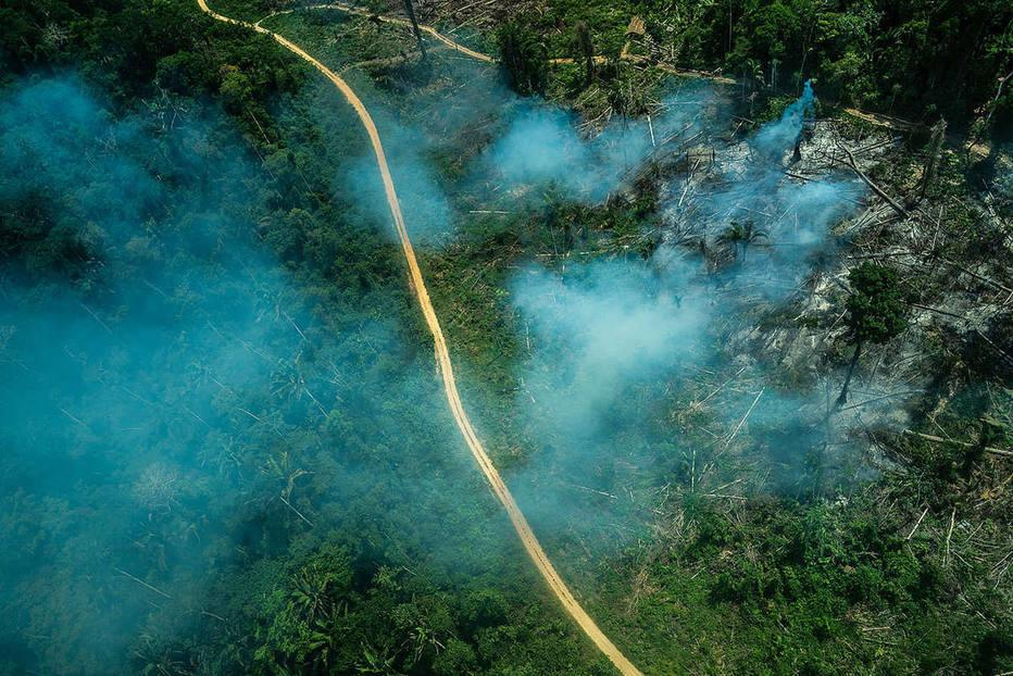 Incêndio florestal na terra indígena Ituna-Itatá, em setembro de 2019, na época de queimadas
