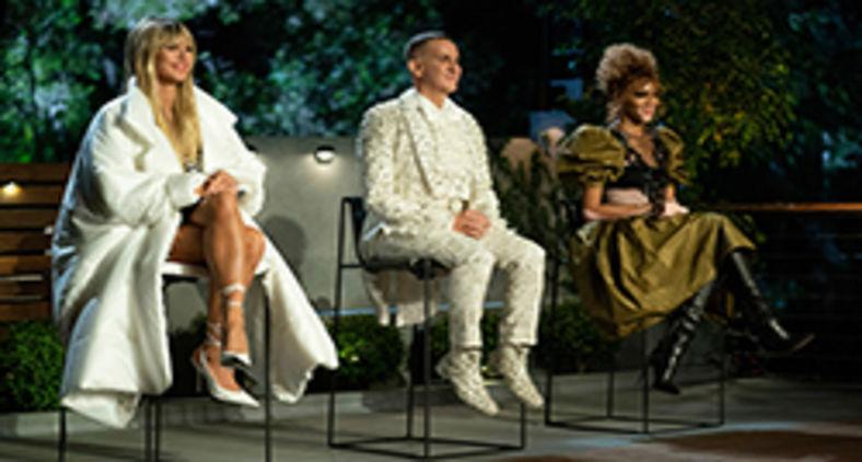 Jurados de 'Making the cut': Heidi Klum (que também apresenta),  Jeremy Scott e Winnie Harlow (Ali Goldstein)