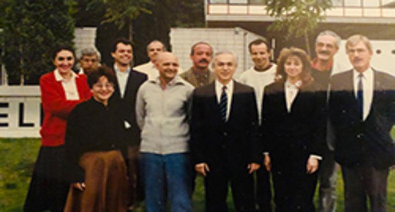 Lev Chain e colegas de trabalho da Radio Nederland, do departamento português daquela emissora internacional (Lev Chain)