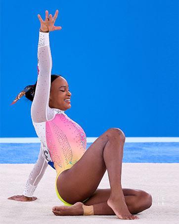 Rebeca Andrade compete na final do solo feminino da ginástica artística nos Jogos Olímpicos de Tóquio-2020