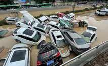 Na região central da China, enchentes causaram prejuízos e fizeram vários mortos (AFP)