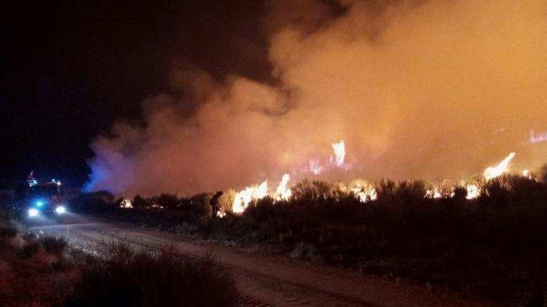 Membros da Unidade Militar de Emergência Espanhola (UME) tentam apagar um incêndio florestal perto de Navalacruz em 14 de agosto de 2021