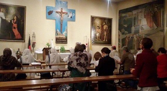 Capela onde os católicos que vivem no Afeganistão se reúnem para a missa