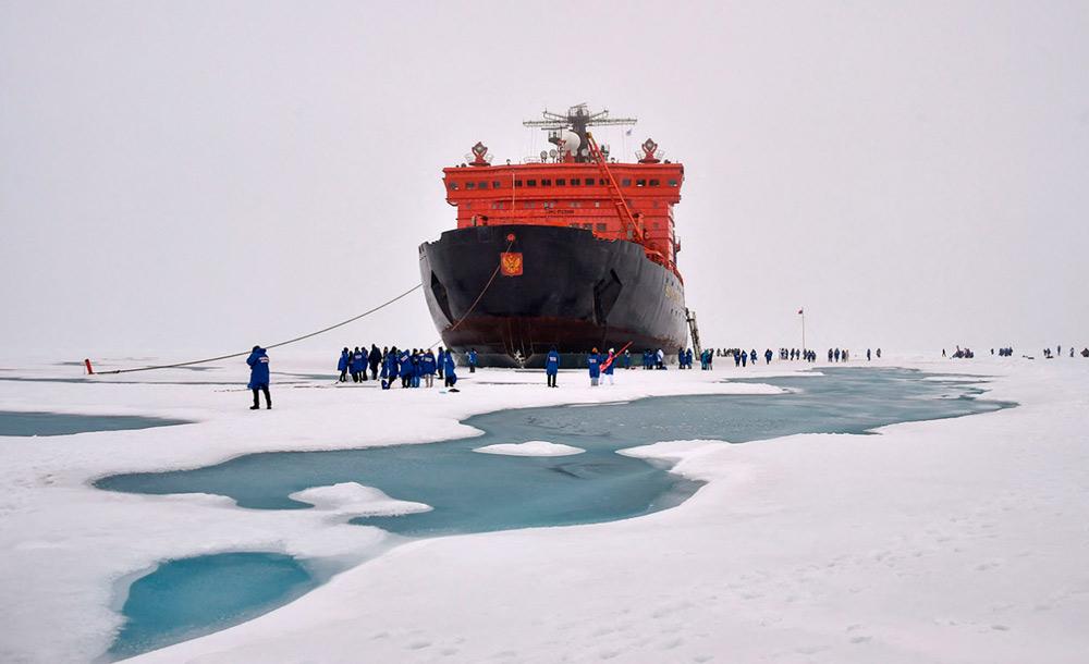 O quebra-gelo russo '50 anos de Vitória', no Polo Norte: mudanças evidentes
