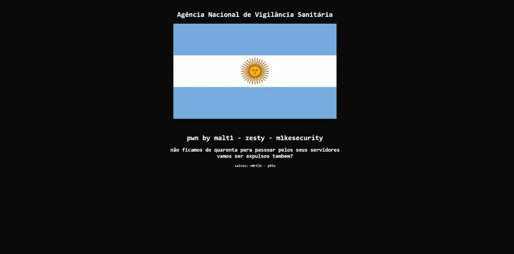 Site da Anvisa sofreu ataque cibernético após suspensão do clássico Brasil x Argentina